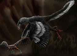 Arqueópterix cazando un compsognatus
